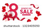 happy womens day. 8 march sale... | Shutterstock .eps vector #1323405050
