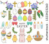 happy easter icons set with... | Shutterstock .eps vector #1323423260