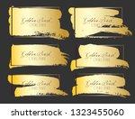 set of brush stroke frame  gold ... | Shutterstock .eps vector #1323455060