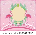 Abstract Card With Flamingos