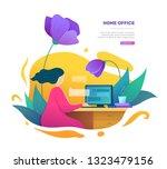 modern home office space... | Shutterstock .eps vector #1323479156