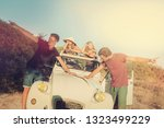 vintage style image of boys... | Shutterstock . vector #1323499229