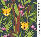 tiger in jungle among palm... | Shutterstock .eps vector #1323511313