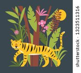 tiger in jungle among palm... | Shutterstock .eps vector #1323511316