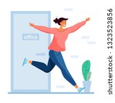 run from office to freedom.... | Shutterstock .eps vector #1323523856