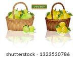 basket with green and yellow... | Shutterstock .eps vector #1323530786