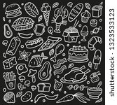 black and white doodle set with ... | Shutterstock .eps vector #1323533123