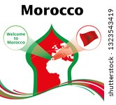 map and national flag of morocco | Shutterstock .eps vector #1323543419