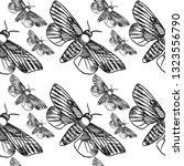 hawk moth seamless pattern... | Shutterstock .eps vector #1323556790