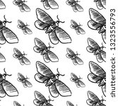 hawk moth seamless pattern... | Shutterstock .eps vector #1323556793
