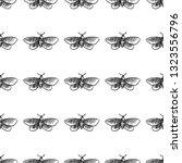 hawk moth seamless pattern... | Shutterstock .eps vector #1323556796