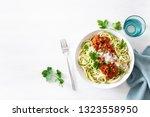 keto paleo zoodles bolognese ...   Shutterstock . vector #1323558950