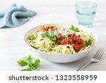keto paleo zoodles bolognese ...   Shutterstock . vector #1323558959