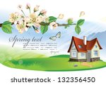 spring landscape with house and ... | Shutterstock .eps vector #132356450