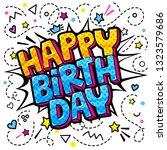 happy birthday word bubble....   Shutterstock .eps vector #1323579686