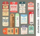 set of vintage luggage tag ... | Shutterstock .eps vector #1323581759