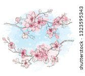 cherry blossom  watercolor... | Shutterstock .eps vector #1323595343