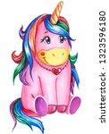 hand drawn pink cute unicorn... | Shutterstock . vector #1323596180