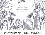 spring flowers and trees design.... | Shutterstock .eps vector #1323596660