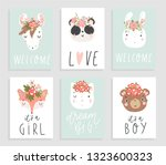 cards with adorable animals.... | Shutterstock .eps vector #1323600323