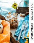 easter table setting. fresh...   Shutterstock . vector #1323615473