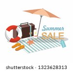 suitcase  umbrella and beach... | Shutterstock .eps vector #1323628313