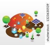 power grid elements. energy... | Shutterstock .eps vector #1323630539