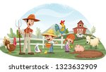 cartoon people and animals on... | Shutterstock .eps vector #1323632909