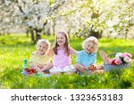 family picnic in spring park...   Shutterstock . vector #1323653183