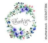 beautiful watercolor wreath... | Shutterstock . vector #1323657386