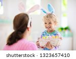 Mother And Kids Color Easter...