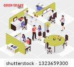 people working in big open...   Shutterstock .eps vector #1323659300