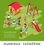 educator and kids on play... | Shutterstock .eps vector #1323659336