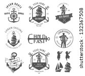 set of vintage nautical labels  ... | Shutterstock .eps vector #132367508