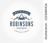 mountains logo emblem vector...   Shutterstock .eps vector #1323684416