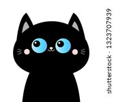 Stock vector black cat head face silhouette blue eyes pink blush cheeks funny kawaii animal baby card cute 1323707939