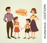 art,boy,brother,child,cousin,daughter,family,father,fifties,girl,happy,home,household,illustration,kin