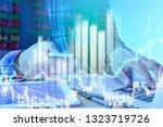 businessman on digital stock... | Shutterstock . vector #1323719726