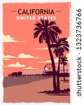 California Retro Poster. Usa...