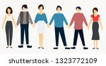 group of people standing on... | Shutterstock .eps vector #1323772109
