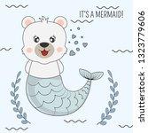 hand drawn beautiful funny bear ... | Shutterstock .eps vector #1323779606