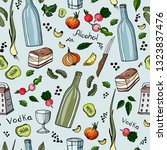 alcohol set  pattern. drawn by... | Shutterstock .eps vector #1323837476