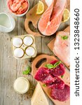 animal protein sources   raw... | Shutterstock . vector #1323848660