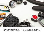 some bicycle accessories on the ... | Shutterstock . vector #1323865343