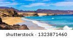 Small photo of Wild beauty and unspoiled beaches of Fuerteventura. La Pared -popular for surfers. Canary isalnds