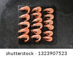 fresh raw prawns or red shrimps ... | Shutterstock . vector #1323907523