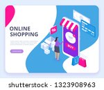 online shopping concept with... | Shutterstock .eps vector #1323908963
