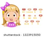 pretty blond girl in pink dress ... | Shutterstock .eps vector #1323915050