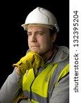 thoughtful workman in... | Shutterstock . vector #132395204