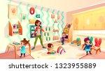 female preschool nursery nurse  ... | Shutterstock .eps vector #1323955889